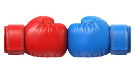 Red and blue boxing glove against each other isolated on white background 3d rendering