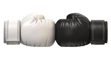 Black and white boxing glove against each other isolated on white background 3d rendering