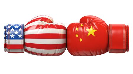 USA against Chinese boxing glove, America vs. China international conflict or rivalry 3d rendering