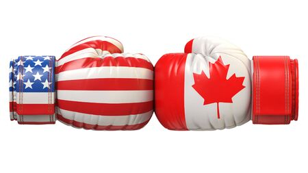 USA against Canadian boxing glove, America vs. Canada international conflict or rivalry 3d rendering