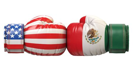 USA against Mexican boxing glove, America vs. Mexico international conflict or rivalry 3d rendering Stok Fotoğraf