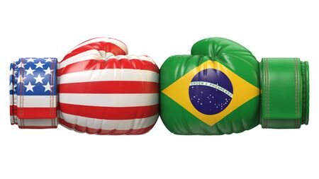 USA against Brazilian boxing glove, America vs. Brazil international conflict or rivalry 3d rendering