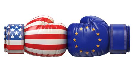 USA against Turkish boxing glove, America vs. Europe international conflict or rivalry 3d rendering