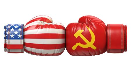 USA against USSR boxing glove, America vs. Russia international conflict or rivalry 3d rendering Stok Fotoğraf