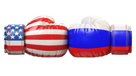 USA against Russian boxing glove, America vs. Russia international conflict or rivalry 3d rendering