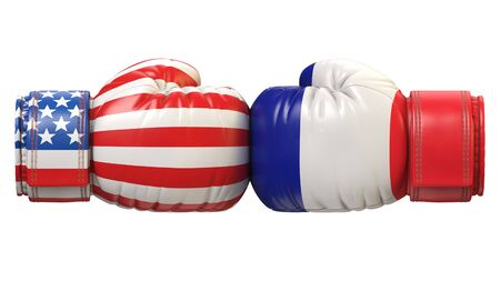 USA against French boxing glove, America vs. France international conflict or rivalry 3d rendering