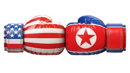 USA against North Korea boxing glove, America vs. north Korea international conflict 3d rendering