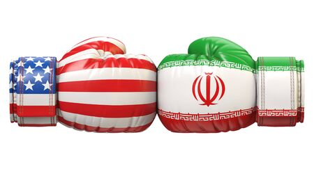 USA against Iranian boxing glove, America vs. Iran international conflict or rivalry 3d rendering