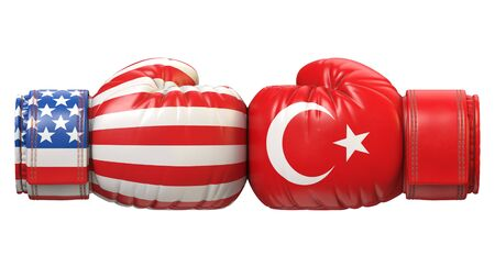 USA against Turkish boxing glove, America vs. Turkey international conflict or rivalry 3d rendering