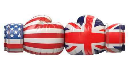 USA against UK boxing glove, America vs. United Kingdom, Great Britain international conflict or rivalry 3d rendering