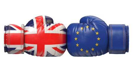 UK against EU boxing glove, Britain vs. European Union international conflict or rivalry, Brexit concept, 3d rendering