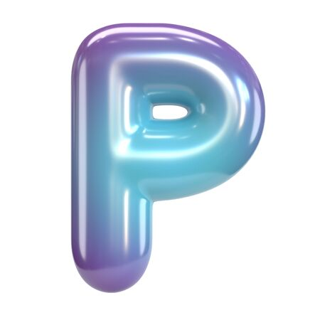 Round purple and blue font, balloon like letters and numbers, 3d rendering letter P Banco de Imagens