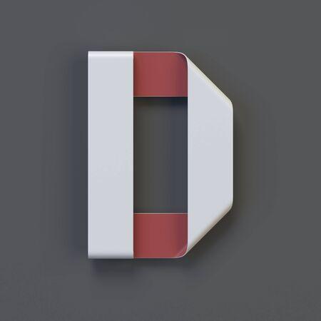 Origami paper font, folded ribbon font 3d rendering, letter D