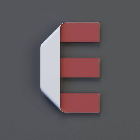 Origami paper font, folded ribbon font 3d rendering, letter E Stock Photo