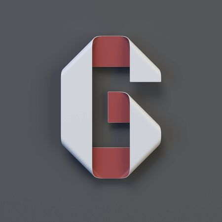 Origami paper font, folded ribbon font 3d rendering, letter G Stock Photo