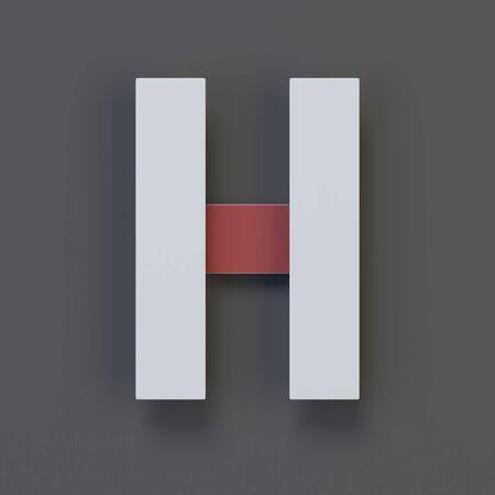 Origami paper font, folded ribbon font 3d rendering, letter H