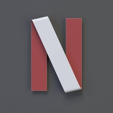 Origami paper font, folded ribbon font 3d rendering, letter N