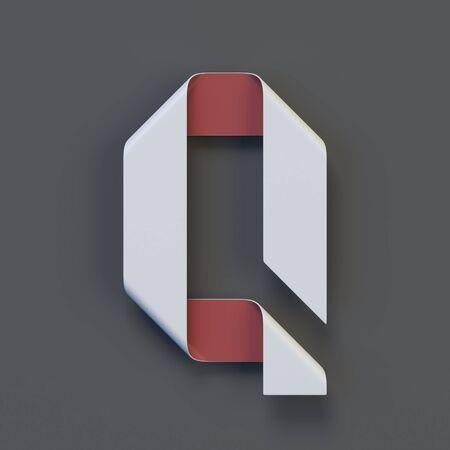 Origami paper font, folded ribbon font 3d rendering, letter Q