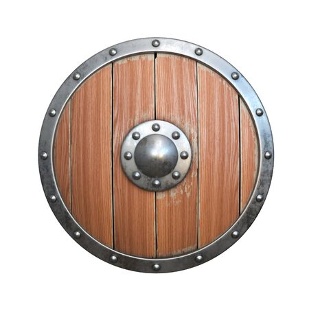 Wooden medieval round shield, viking shield isolated on white background, 3d rendering