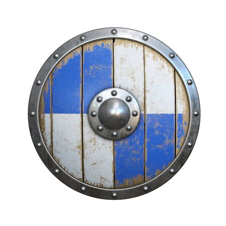Wooden medieval round shield, viking shield painted blue and white, isolated on white background, 3d rendering
