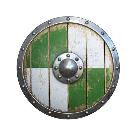 Wooden medieval round shield, viking shield painted green and white, isolated on white background, 3d rendering Stok Fotoğraf