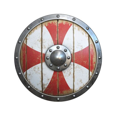 Wooden medieval round shield, viking shield painted red and white, isolated on white background, 3d rendering