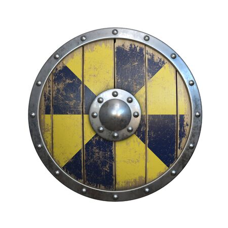 Wooden medieval round shield, viking shield painted yellow and blue, isolated on white background, 3d rendering