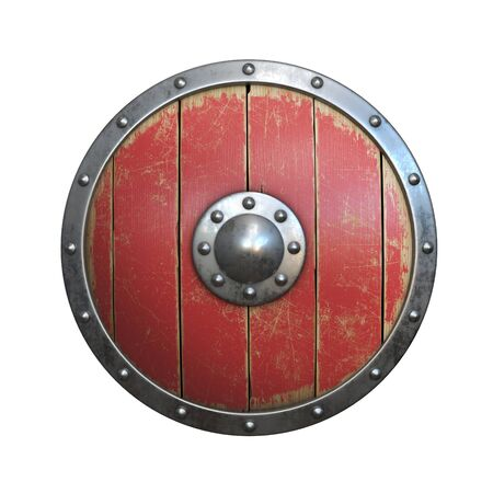 Wooden medieval round shield, viking shield painted red , isolated on white background, 3d rendering Stok Fotoğraf