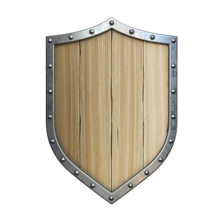 Wooden medieval shield, viking shield isolated on white background, 3d rendering