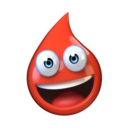 Blood droplet mascote with smiling face 3d rendering Stockfoto
