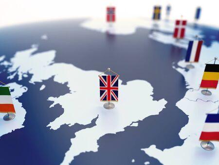 Bandiera del Regno Unito a fuoco tra le bandiere di altri paesi europei. Europa contrassegnata con rendering 3d di bandiere da tavolo Archivio Fotografico