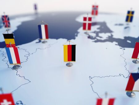 Flag of Germany in focus among other European countries flags. Europe marked with table flags 3d rendering