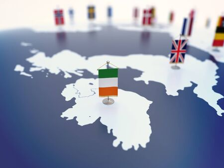 Flag of Ireland in focus among other European countries flags. Europe marked with table flags 3d rendering Reklamní fotografie