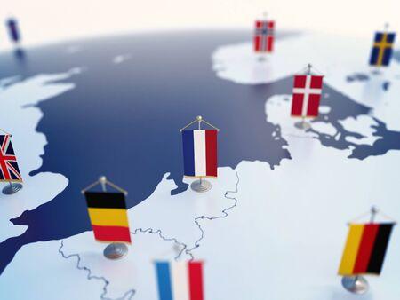 Bandera de Holanda en foco entre otras banderas de países europeos. Europa marcada con banderas de mesa render 3d Foto de archivo