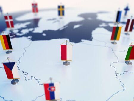 Flagge von Polen im Fokus unter anderen europäischen Länderflaggen. Europa markiert mit Tischflaggen 3D-Rendering Standard-Bild