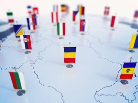 Flagge Rumäniens im Fokus unter anderen europäischen Länderflaggen. Europa markiert mit Tischflaggen 3D-Rendering