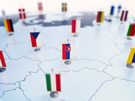 Flag of Slovakia in focus among other European countries flags. Europe marked with table flags 3d rendering Foto de archivo