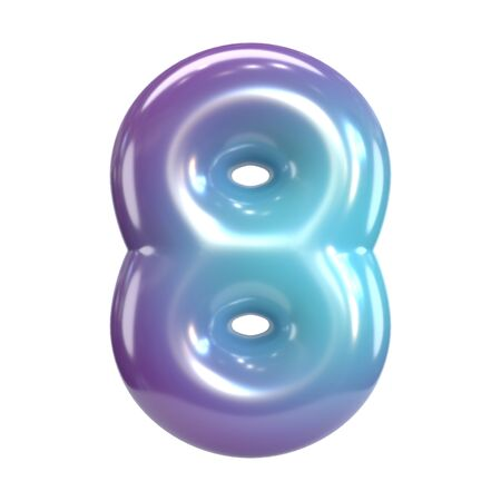 Round purple and blue font, balloon like letters and numbers, 3d rendering number 8