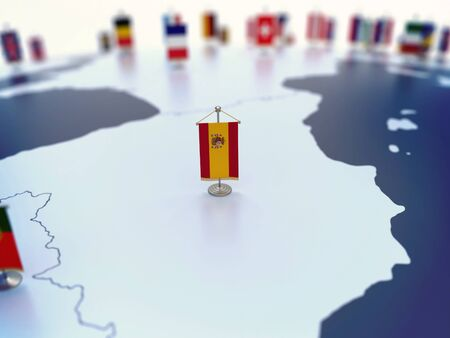 Flag of Spain in focus among other European countries flags. Europe marked with table flags 3d rendering
