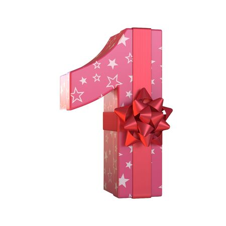 Gift box with red ribbon bow 3d font, present alphabet 3d rendering, number 1