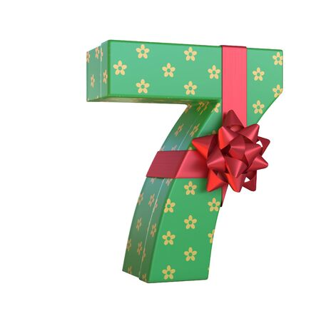 Gift box with red ribbon bow 3d font, present alphabet 3d rendering, number 7