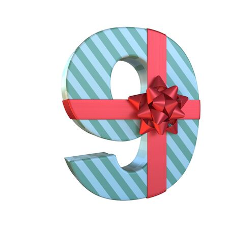 Gift box with red ribbon bow 3d font, present alphabet 3d rendering, number 9