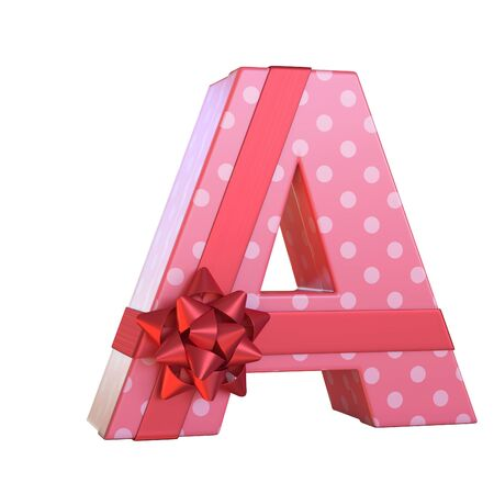 Gift box with red ribbon bow 3d font, present alphabet 3d rendering, letter A Stock Photo