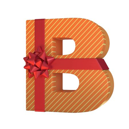 Gift box with red ribbon bow 3d font, present alphabet 3d rendering, letter B