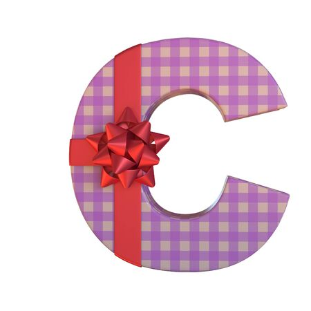 Gift box with red ribbon bow 3d font, present alphabet 3d rendering, letter C