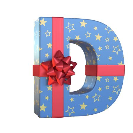 Gift box with red ribbon bow 3d font, present alphabet 3d rendering, letter D Stock Photo