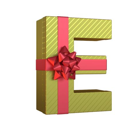 Gift box with red ribbon bow 3d font, present alphabet 3d rendering, letter E