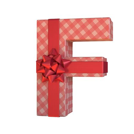 Gift box with red ribbon bow 3d font, present alphabet 3d rendering, letter F