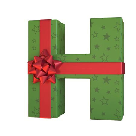 Gift box with red ribbon bow 3d font, present alphabet 3d rendering, letter H