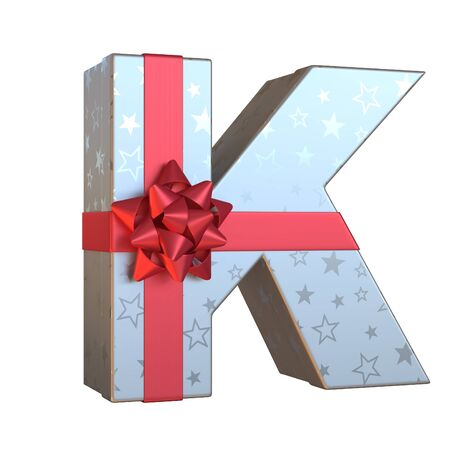 Gift box with red ribbon bow 3d font, present alphabet 3d rendering, letter K